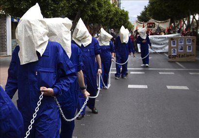 V Španski Almerii so tako ponazorili brezposelne delavce