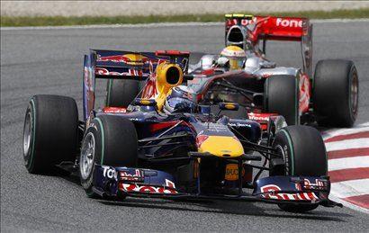 Lewis Hamilton in Sebastian Vettel