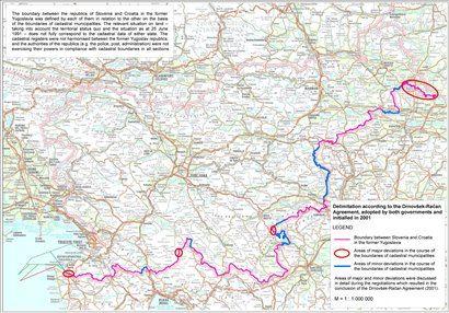 Zemljevid slovenskega MZZ z vrisanimi spornimi točkami na meji; <b>klik za povečavo</b>