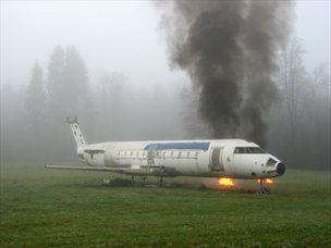 Prizor z vaje letalske nesreče. (foto: Aerodrom Ljubljana)