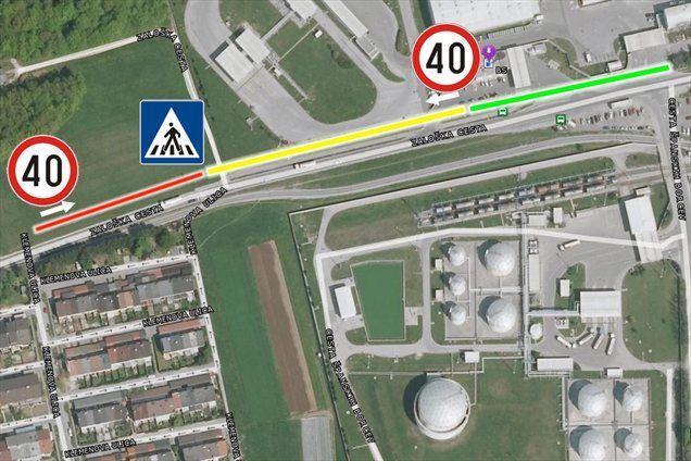 Rdeča črta: področje omejitve pred prehodom<br/>Rdeča / rumena črta: področje omejitve po navigaciji<br/>Rdeča / rumena / zelena črta: področje omejitve po predpisih