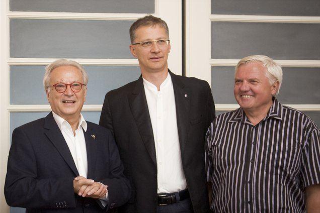 Hannes Swoboda, Igor Lukšič in Mirko Brulc