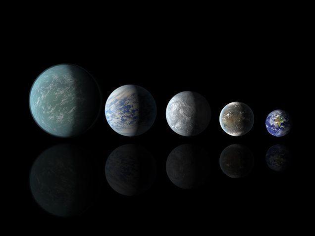 Keplerjeva odkritja v primerjavi z Zemljo (od leve proti desni): Kepler-22b, Kepler-69c, Kepler-62e, Kepler-62f in Zemlja