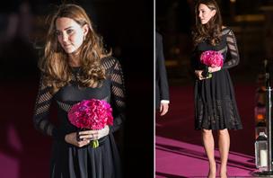 Noseča Kate v mali črni oblekici za 760 evrov