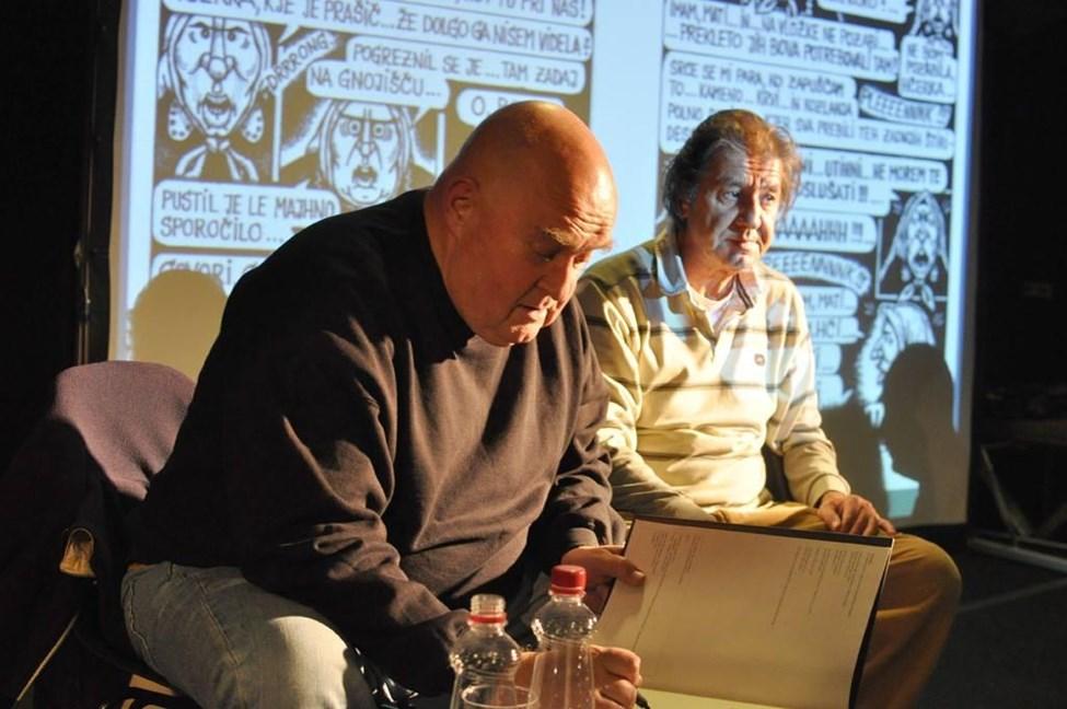 Marko Derganc in Emil Filipčič, avtorja Butnskale na predstavitvi stripa