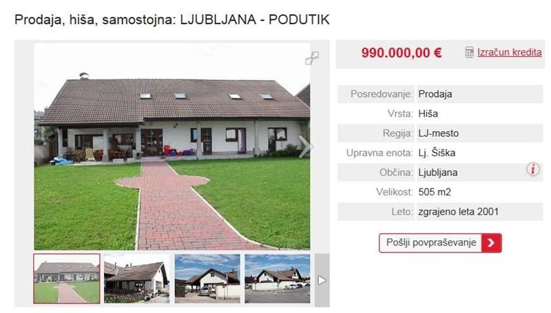 V ljubljanski Šiški pri policijski postaji ob Podutiški cesti je na prodaj 14 let stara stanovanjska hiša s 500 kvadratnimi metri stanovanjske površine. Obdaja jo še 750 kvadratov zemljišča, lastnik pa jo ceni na 990 tisoč evrov.